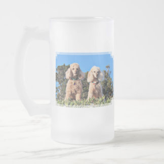 Leach - Poodles - Romeo Remy Frosted Glass Beer Mug