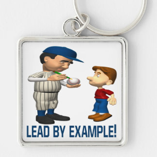 Lead By Example Silver-Colored Square Keychain