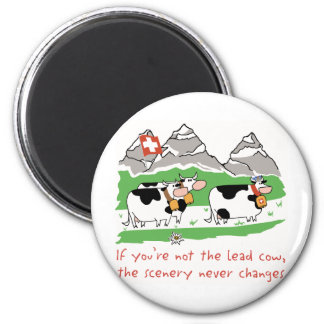 Lead Cow Round Magnet