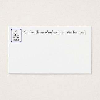 Lead element symbol Plumber business card