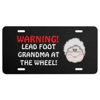 Lead foot Grandma license plate cover