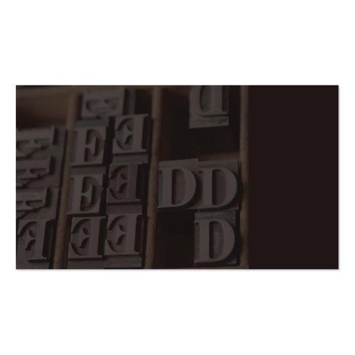 lead letterpress type business card