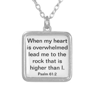 Lead me to the rock bible verse Psalm 61:2 Square Pendant Necklace