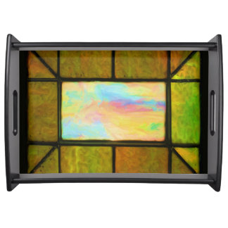 Leaded Mitered Stained Glass Window Serving Tray