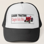 "Leader Tractors Trucker Hat<br><div class=""desc"">The Leader Tractor Mfg. Co. of Chagrin Falls,  Ohio began producing tractors in 1946. Their Model D which weighed 2, 500 pound was powered by a 35 horsepower 4 cylinder Hercules engine. It could pull two 12 inch plows and also featured hydraulic lift,  PTO,  and a belt pulley.</div>"