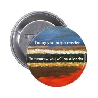 Leaders read pinback button