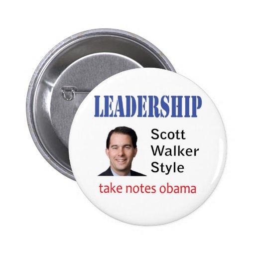 Leadership: Scott Walker style Pinback Button