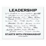 Leadership Starts With Penmanship (Signatures) 4.25x5.5 Paper Invitation Card