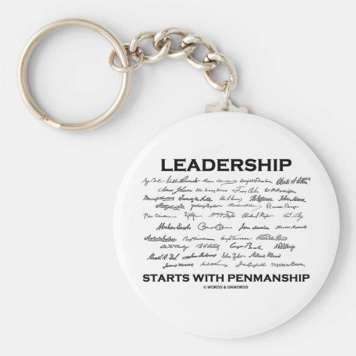 Leadership Starts With Penmanship (Signatures) Basic Round Button Keychain