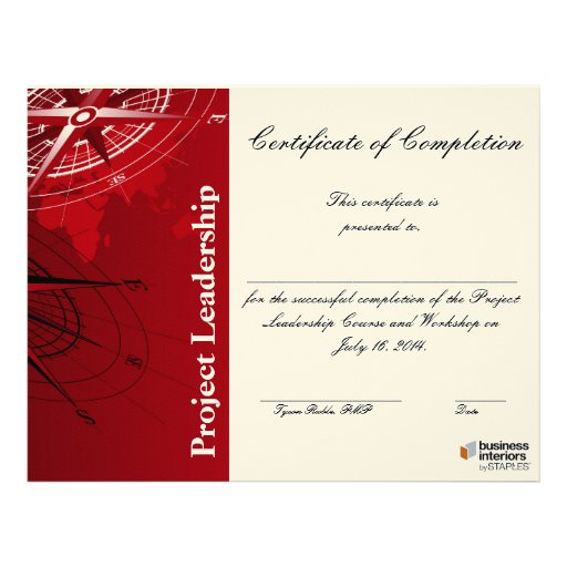 leadership workshop certificate of completion letterhead