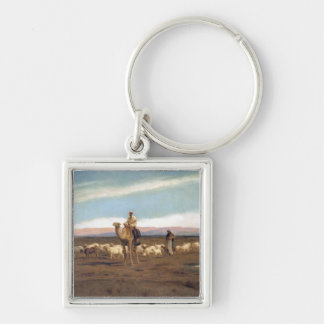 Leading the Flock to Pasture (oil on canvas) Key Chain