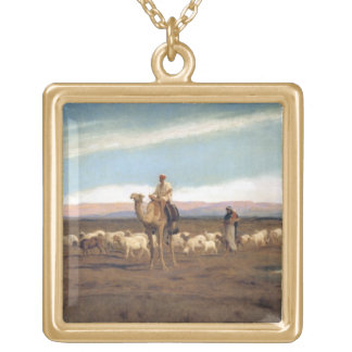 Leading the Flock to Pasture (oil on canvas) Custom Necklace