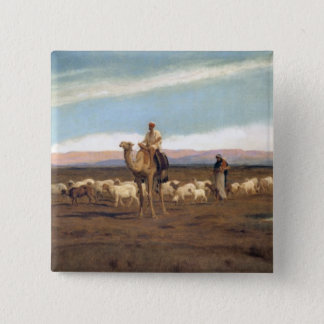 Leading the Flock to Pasture (oil on canvas) Pinback Button