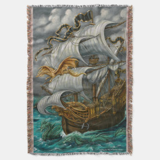 Leading the Way Dragons and Ship Throw Blanket