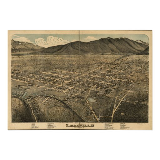 Leadville Colorado 1879 Antique Panoramic Map Poster
