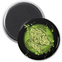 art, illustration, leaf, green, nature, graphic, design, pop, ecology, plants, flora, Ímã com design gráfico personalizado