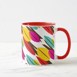 Leaf Abstract Retro Multicolored Pattern Mug