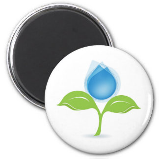 leaf and drop 2 inch round magnet