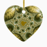 Leaf And Gold - Fractal Art Ceramic Ornament