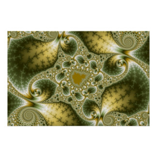Leaf And Gold - Fractal Art Poster