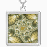 Leaf And Gold - Fractal Art Silver Plated Necklace