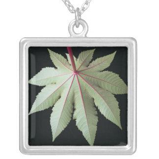 Leaf and Stem Square Pendant Necklace