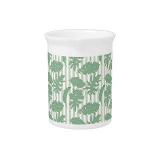 Leaf and Stripe Designer Pattern Beverage Pitcher