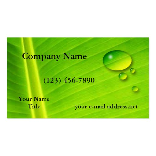 Leaf and water drops business card