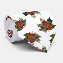 Leaf Art, Colorful Autumn Leaf  Tie