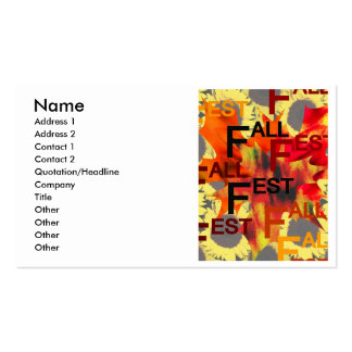 Leaf background with Fall Fest repeated over Business Card