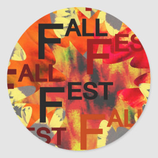 Leaf background with Fall Fest repeated over Classic Round Sticker