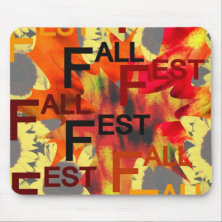 Leaf background with Fall Fest repeated over Mousepads