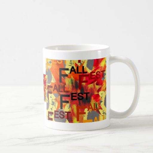 Leaf background with Fall Fest repeated over Coffee Mugs