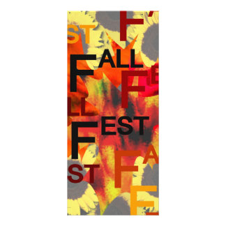 Leaf background with Fall Fest repeated over Rack Card Template
