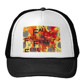 Leaf background with Fall Fest repeated over Trucker Hat