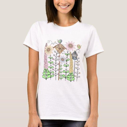 Leaf Birdie Flower Garden T-Shirt
