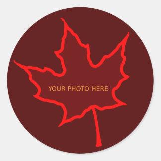 Leaf Border Classic Round Sticker