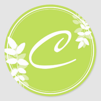 Leaf & Circles Initial Monogram Sticker - Green