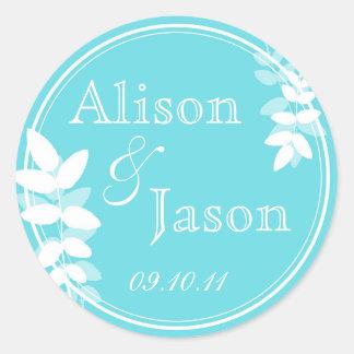 Leaf Circles Wedding Monogram Favor Sticker - Blue