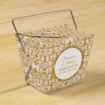 Leaf Damask Art Nouveau Glitter Reception Decor Favor Box