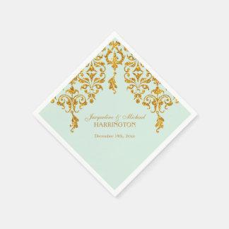 Leaf Damask Art Nouveau Glitter Reception Decor Standard Cocktail Napkin