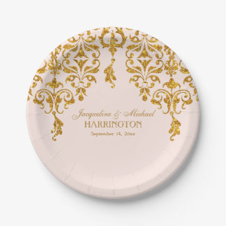Leaf Damask Art Nouveau Glitter Reception Decor Paper Plate