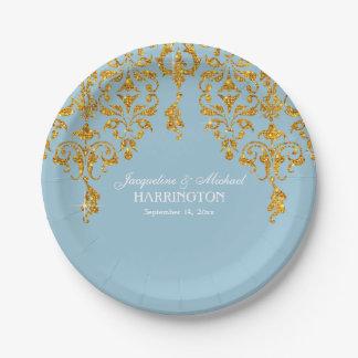 Leaf Damask Art Nouveau Glitter Reception Decor 7 Inch Paper Plate