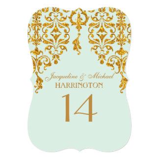 Leaf Damask Art Nouveau Glitter Table Number
