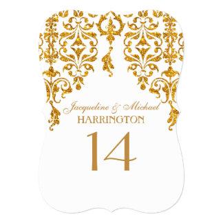 "Leaf Damask Art Nouveau Glitter Table Number 5"" X 7"" Invitation Card"