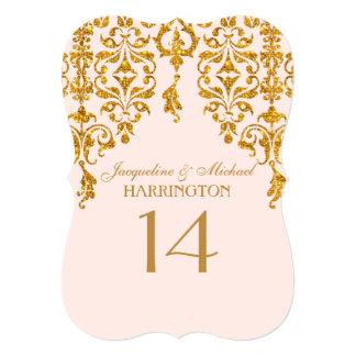 Leaf Damask Art Nouveau Glitter Table Number 5x7 Paper Invitation Card