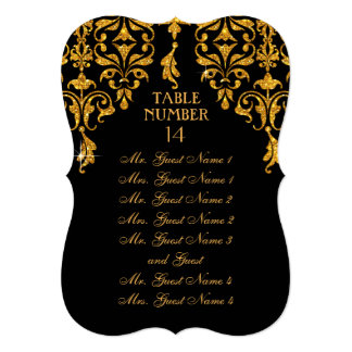 Leaf Damask Art Nouveau Table Seating Chart Card