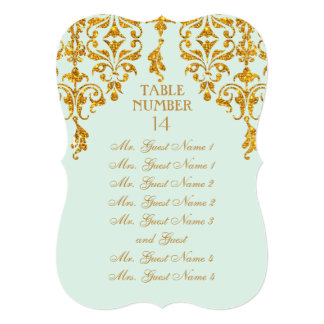 Leaf Damask Art Nouveau Table Seating Chart 5x7 Paper Invitation Card
