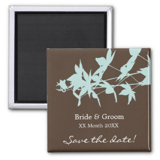 Leaf Design BLUE-CHOCOLATE Save the date Magnet