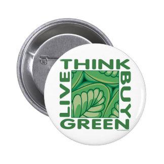 Leaf Design 2 Inch Round Button